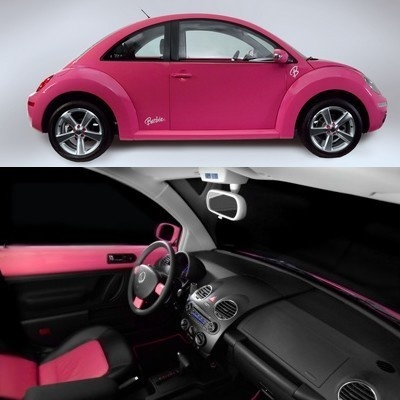 Barbie Pink Volkswagen New Beetle. I don't like beetles or barbie but this car is straight sexy