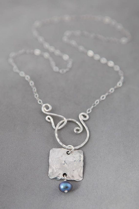 Jennifer Engel Designs - Silver Square with Pearl Necklace, Handcrafted Jewelry