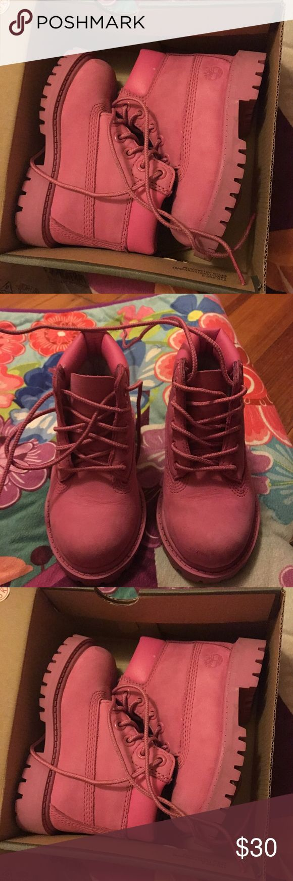 Pink timberlands for little girls infant Barely worn probably should go a size down there a little snug fit Shoes Ankle Boots & Booties