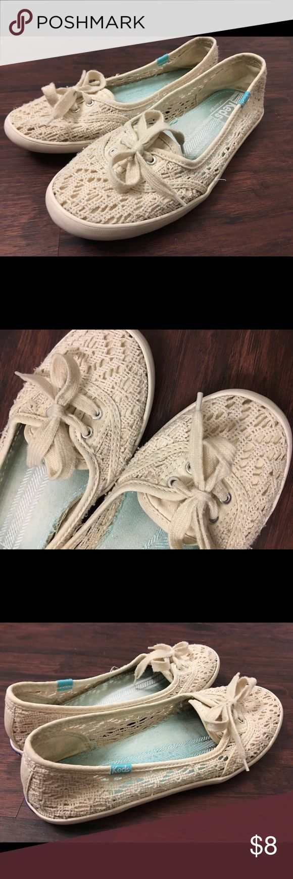 Keds, Women's Teacup Crochet Slip On! Sz 6. Women's Teacup Crochet casual flats from Keds. Decorative lace design. Some normal wear, but still in good condition. Size 6. Make an offer or bundle and save! Keds Shoes Sneakers