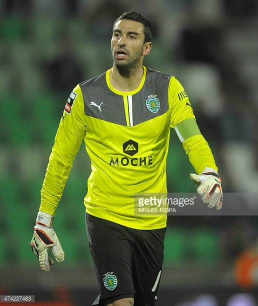 Sporting's goalkeeper Rui Patricio stands during the Portuguese league football match Rio Ave FC vs Sporting Lisbon at the Rio Ave FC stadium in Vila...