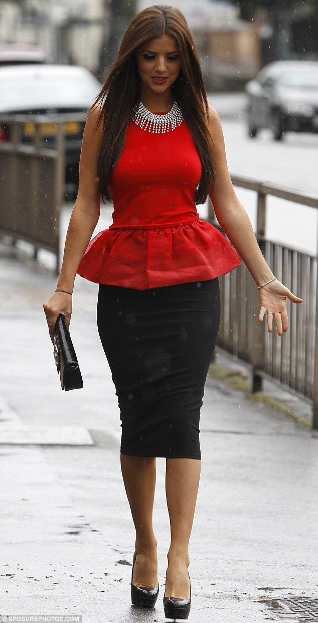 Lucy Meck wearing the Miss Selfridge Black Fitted Pencil Skirt