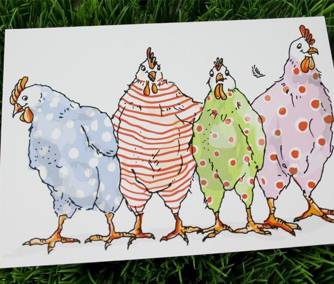 Trop marrantes les poules en pyjama.