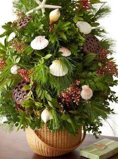 Inspirational Nautical Christmas Tree in A Nantucket Basket