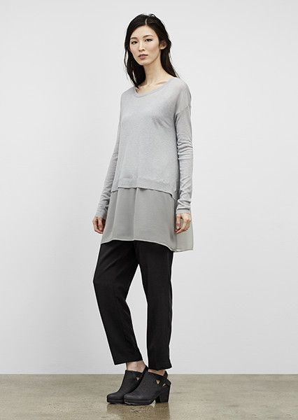 EILEEN FISHER New Arrivals: Cashmere + Silk Block Box-Top, Tencel Twill Pant + Grip Bootie