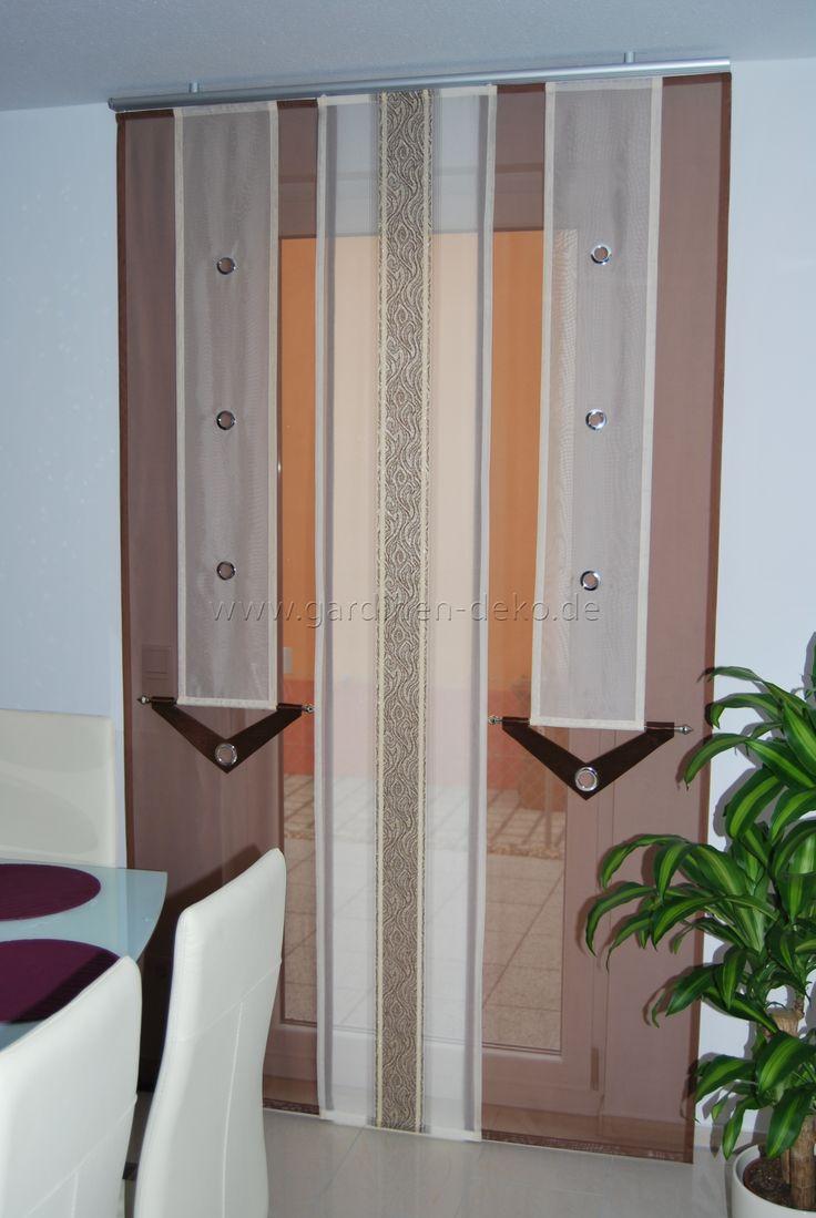 esszimmer schiebevorhang im modernen design in beige und braun mit kupferstich http www. Black Bedroom Furniture Sets. Home Design Ideas