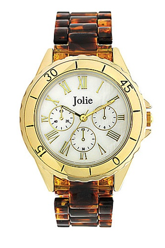 Jolie Ladies' Tortoise Shell Plastic Chrohograph watch, $45.50, available at Lord & Taylor