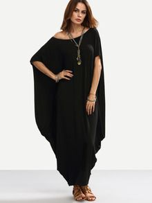 Black One Shoulder Dolman Sleeve Maxi Dress