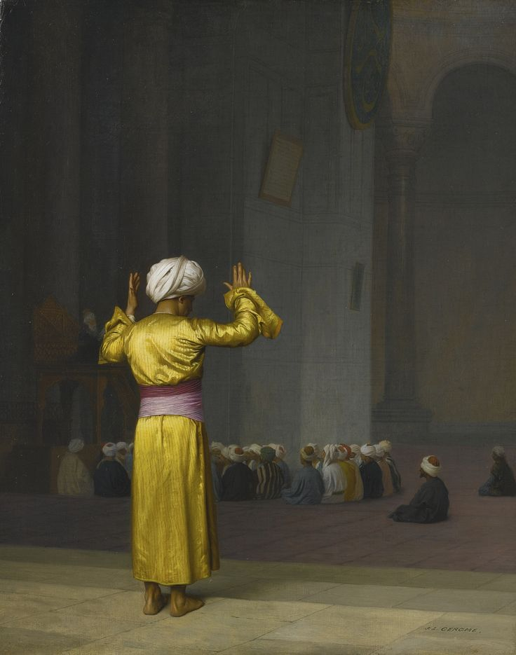 Jean-Léon Gérôme 1824 - 1904 FRENCH PRIÈRE DANS LA MOSQUÉE signed J. L. GEROME (lower right)  oil on canvas 16 by 13 in. 40.6 by 33 cm: