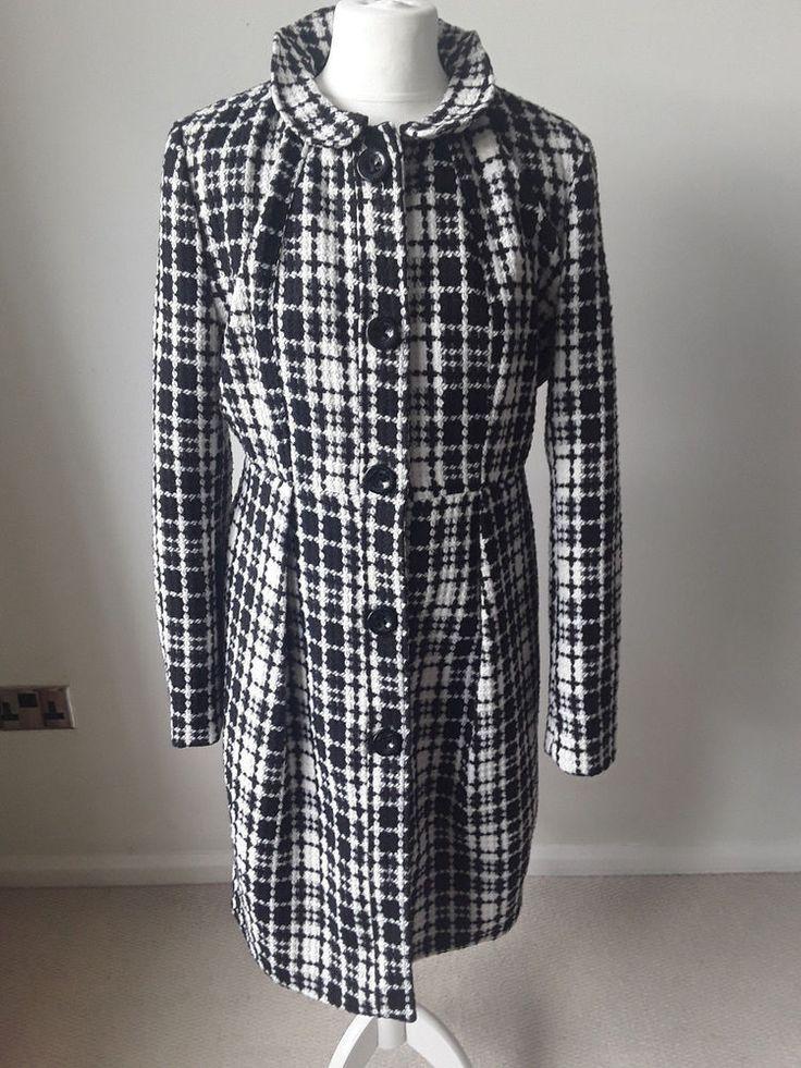 Yumi ladies black and white winter coat #Yumi #Coat #Outdoor