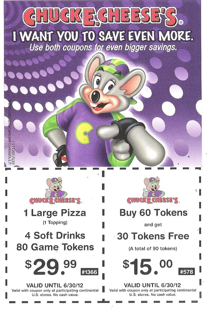 Chuck e cheese coupons birthday