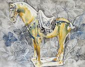 Yellow tang horse archival print illustration watercolour painting
