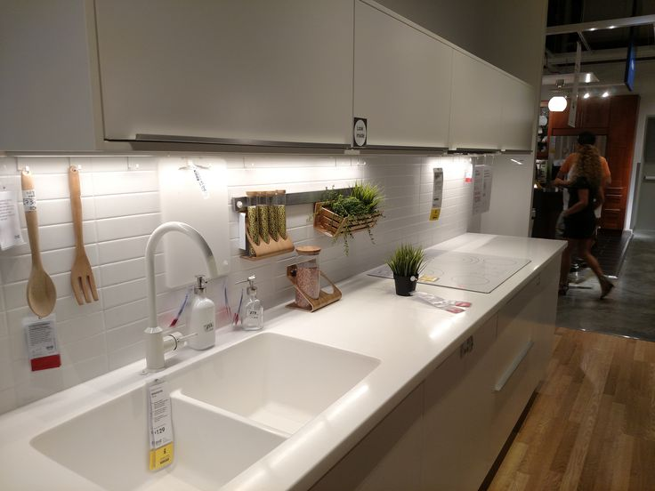ikea 39 s white personlig acrylic kitchen countertop integrated sink and white ringsk r faucet. Black Bedroom Furniture Sets. Home Design Ideas