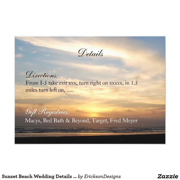 Sunset Beach Wedding Details Reception Card
