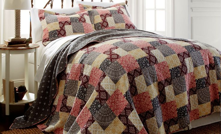 100% Cotton 3 Piece printed reversible quilt Set Shannon Full/Queen