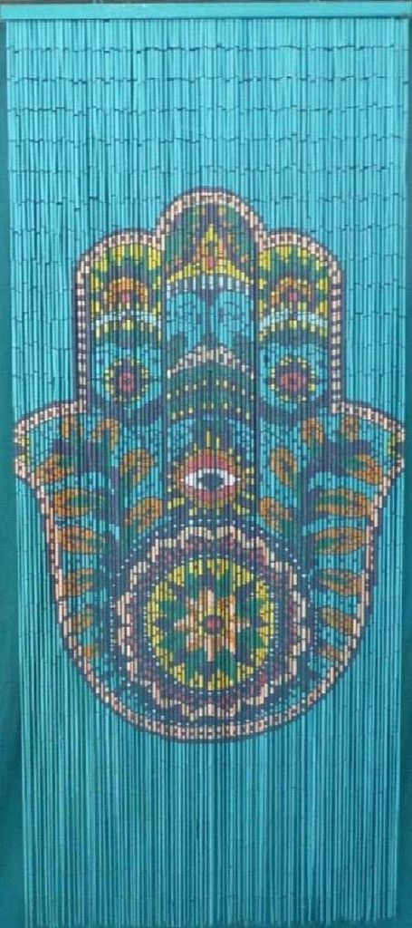 Bamboo door curtain with hamsa hand hands wire and products for Hand painted bamboo beaded curtains