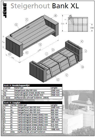 Bouwtekening van een steigerhout bank >> Wordt dit jouw bed? http://bit.ly/1fauE1N