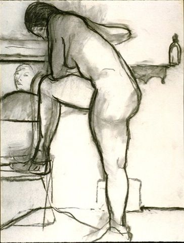 Richard Diebenkorn - Untitled (Naked, Leg on a Chair, from Missing Works)