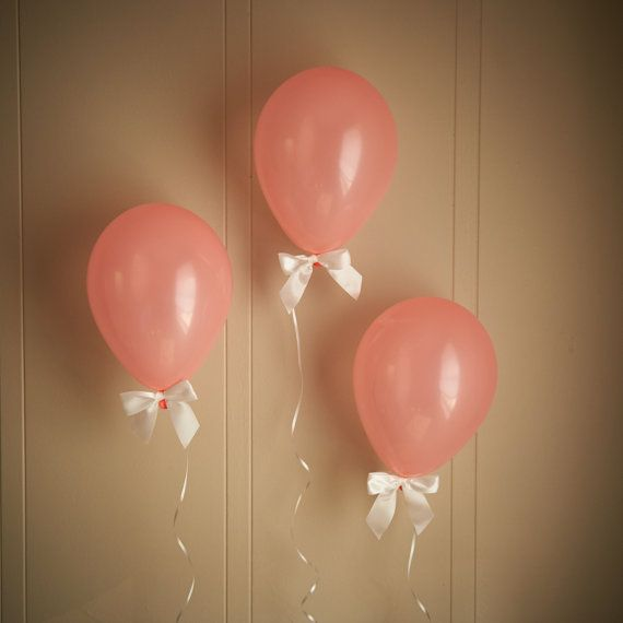 Coral Baby Shower Decorations - Light Coral Balloons with White Bows (12″) 8CT + Curling Ribbon