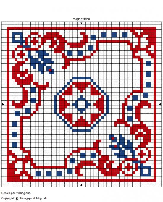 biscornu chart 3 color ways