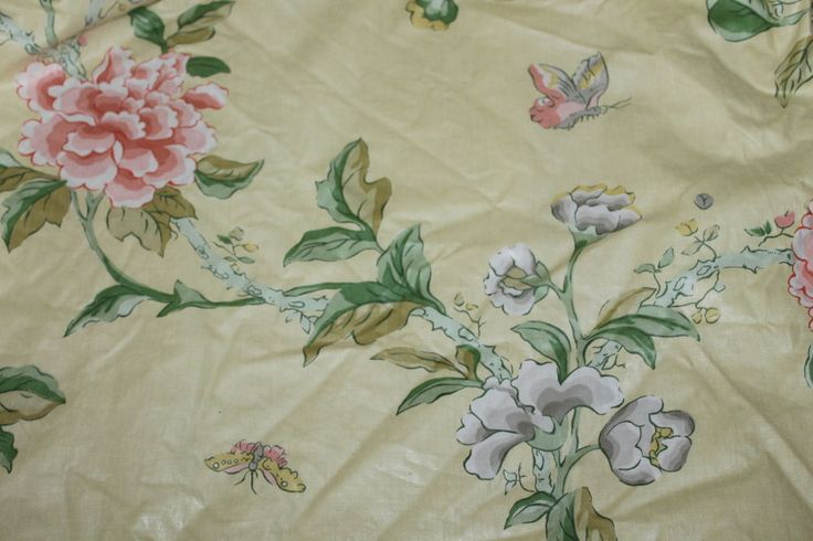 COUNTRY HOUSE Vintage INTERLINED PAIR CURTAINS,Floral,Lemons,Liberty Pattern