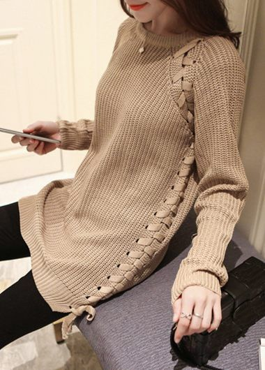 Light Tan Long Sleeve Lace Up Sweater on sale only US$31.00 now, buy cheap Light Tan Long Sleeve Lace Up Sweater at modlily.com