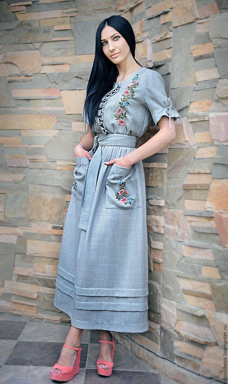"""Купить Льняное вышитое платье """"Майский день"""" - серый, рисунок, вышитое платье, льняное платье"""