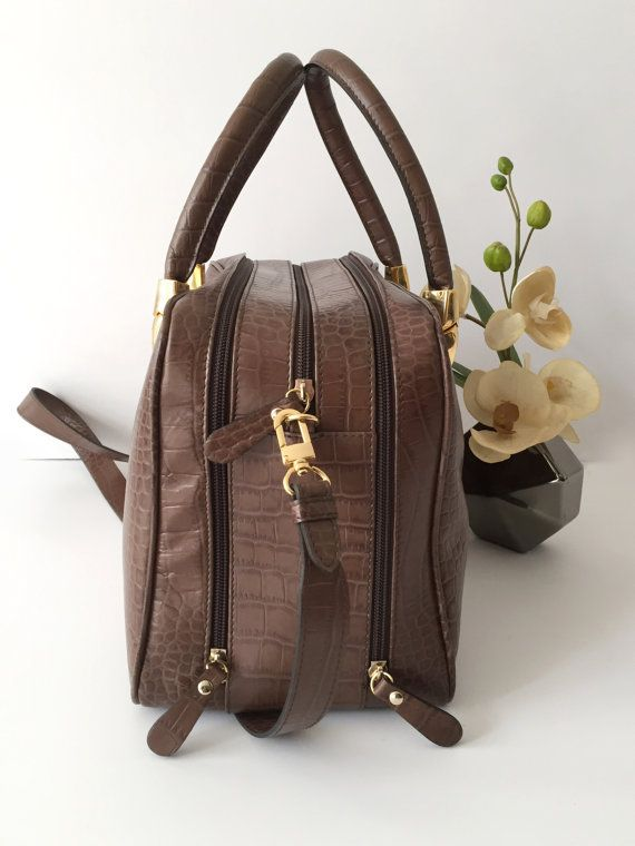 Brown leather bag, Women small briefcase, Genuine leather with croco print, Leather laptop bag, Rolled handles, Travel bag women