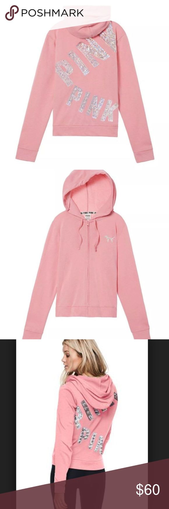 VS PINK Bling Perfect Full-Zip Hoodie! Online Exclusive Bling Perfect Full-Zip VS Pink Hoodie in Large. This size and color combo is sold out online.  Brand New in Original VS Online Packaging bag.  Slim fit plus cute graphics—perfection in a hoodie. Slim fit Imported cotton/polyester PINK Victoria's Secret Tops Sweatshirts & Hoodies