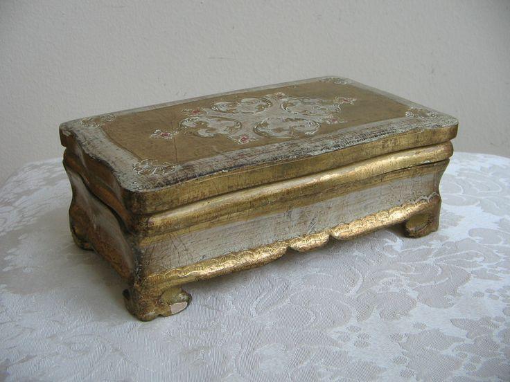 Vintage Florentine Box Gold Gilt White Wood Jewelry Box