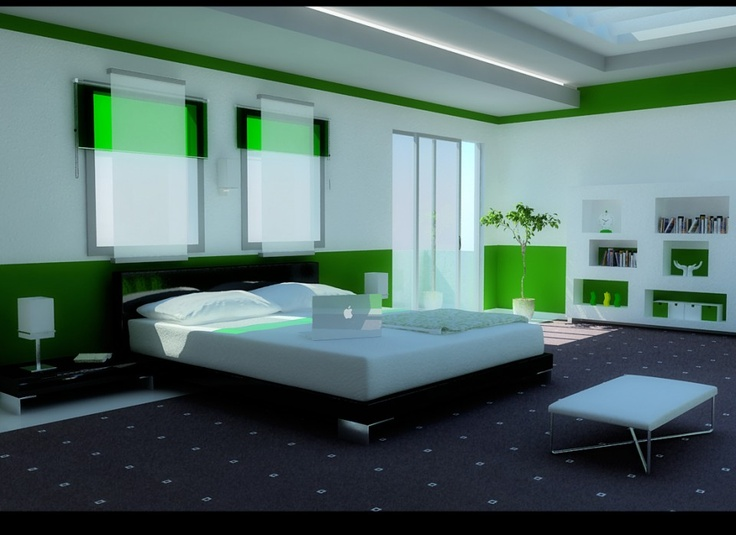 Elegant Green Bedroom for Modern Home Living:Grand Skylight Design In White Green Bedroom With White Bed Unit Black Frame Area Rug And Modern White Bookcase