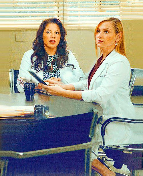 "Callie and Arizona in the ""if/then"" episode"