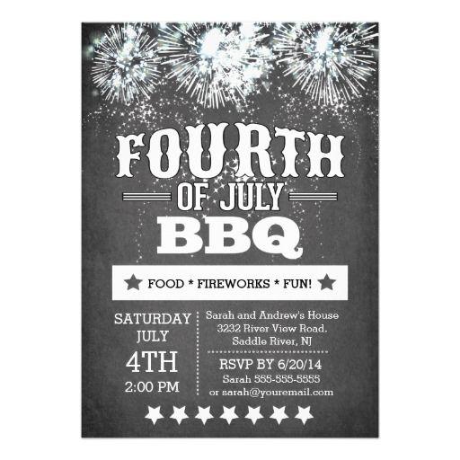 Modern Chalkboard Fireworks 4th of July Party Invitations Invitation