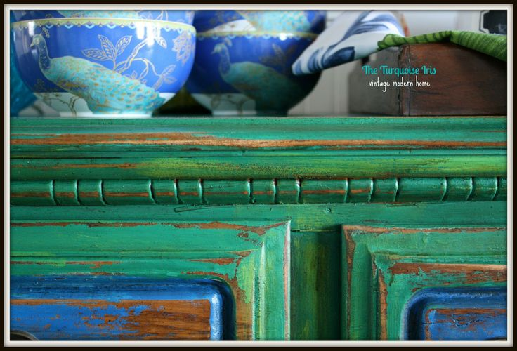 Distressed Turquoise Furniture | The Turquoise Iris: Emerald Green Buffet / Dresser Distressed & a Shot ...