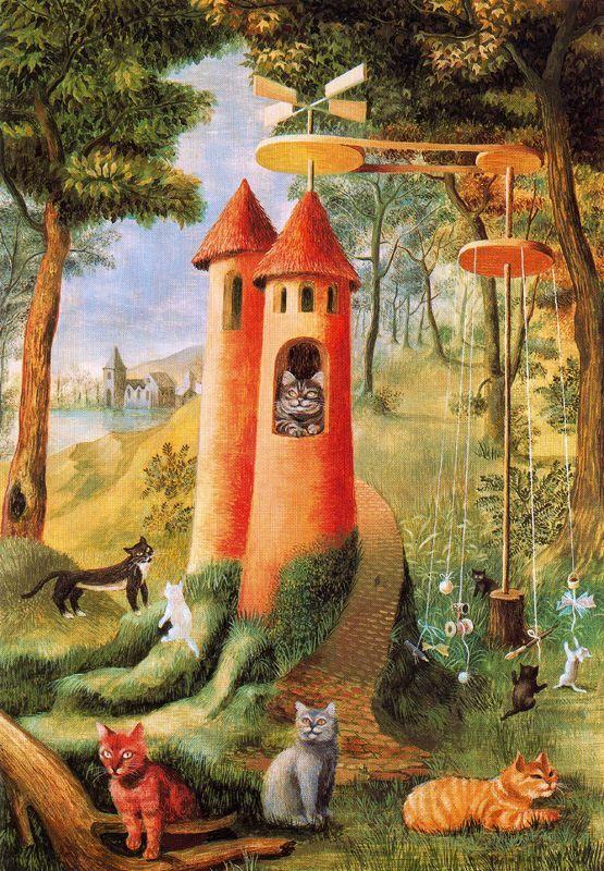"Remedios Varó (1908-1963), Anglès, Catalonia, Spain. Surrealist painter. ""Paraíso de los gatos"" (Cats Paradise) (1955). Symbolic painting. Oil on masonite. 29x21cm. Private Collection. WikiPaintings.org"