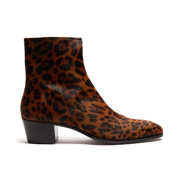 Christian Louboutin Ziggissimo pony-hair chelsea boot (€1.690) ❤ liked on Polyvore featuring men's fashion, men's shoes, men's boots, brown multi, shoes, mens zipper shoes, mens zip shoes, mens zipper boots, mens zip boots and mens brown shoes