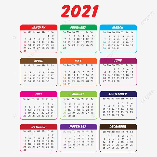 Calendar 2021 In Multi Colours Calendar 2021 Yearly Calendar 2021 Png And Vector With Transparent Background For Free Download Calendar Design Template Free Printable Calendar Templates Yearly Calendar