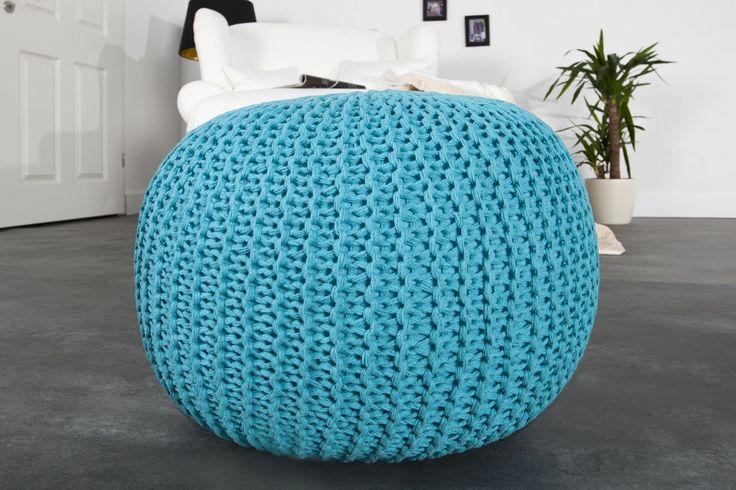 Puf/podnóżek Knitted Ball - turkusowy turkusowy   Dla dzieci Meble \ Ławki, pufy i stołki   design360