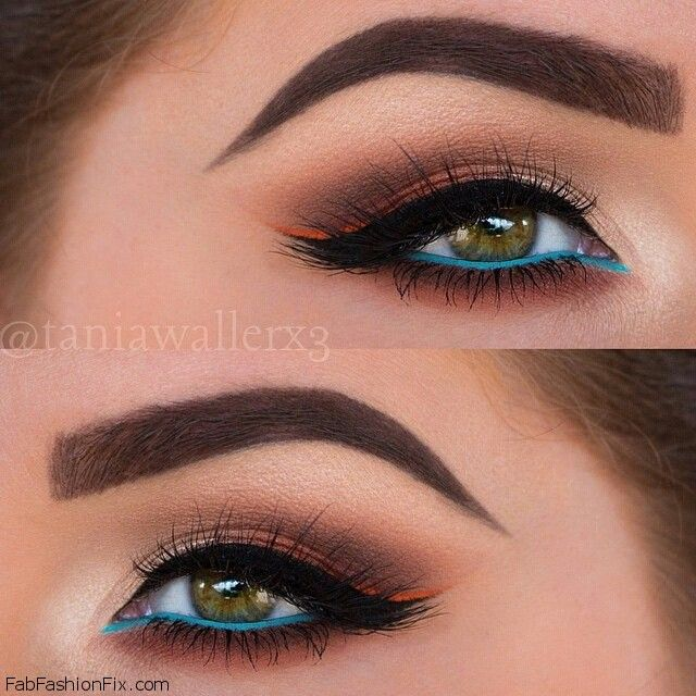 Shaped eyebrows, black winged eyeliner and pop of turquoise eyeliner for summer makeup. #eyeliner #makeup #turquoise