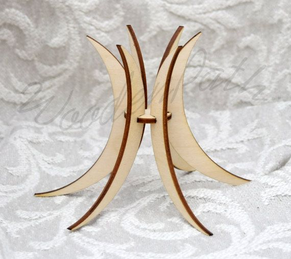 Set of 5 wooden Easter egg stand plain unfinished by WoodenPath