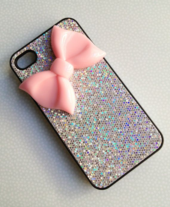 sparkaly phone cases | FREE SHIPPING // Bow iPhone Case // Glitter Silver Case // iPhone 4/4s