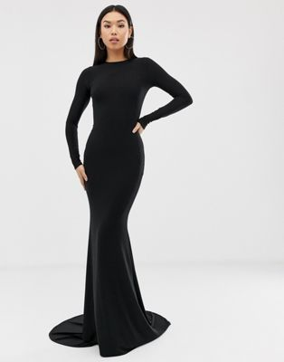 4e0350d9e4e Club L London fishtail maxi dress in black in 2019