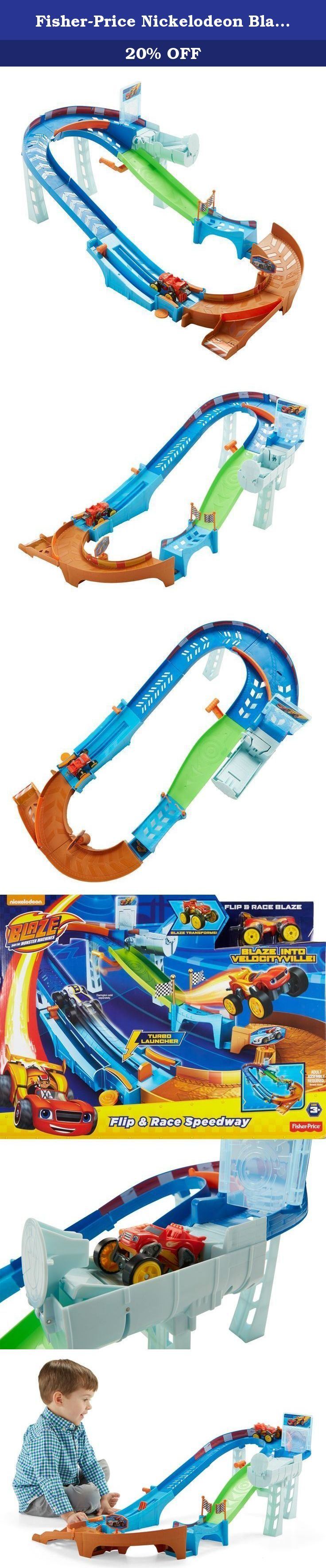 Fisher-Price Nickelodeon Blaze and the Monster Machines Flip & Race Speedway. Blaze is off to the races on the Velocityville speedway! Use the turbo launcher to clear the jump and zoom around the speedway. Blaze is fast, but if he wants to win this race, he's going to need more speed than ever before. Switch the track rails to send him into the transforming turbo flipper. With the simple flip of a lever, Blaze transforms from a monster truck into a race car! Now he's got the Blazing Speed…