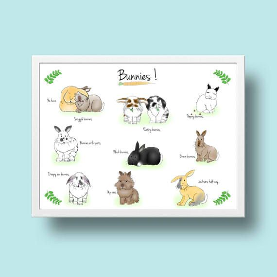 digital download  funny bunny easter drawing A4 by TwoAdoptedBuns
