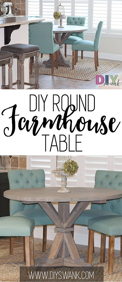 Build a Round Farmhouse table for $85 or less. Plans provided by the Design Confidential.