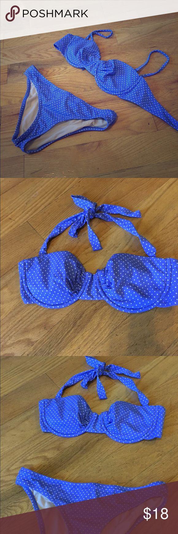 J.Crew periwinkle polka dot bikini Really cute periwinkle blue polka dot bikini, used only a few times. Bottom is small, top is 8 (I'm 34C) J. Crew Swim Bikinis