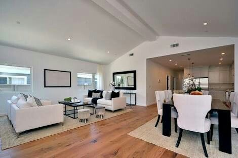 Raked ceiling living dining room