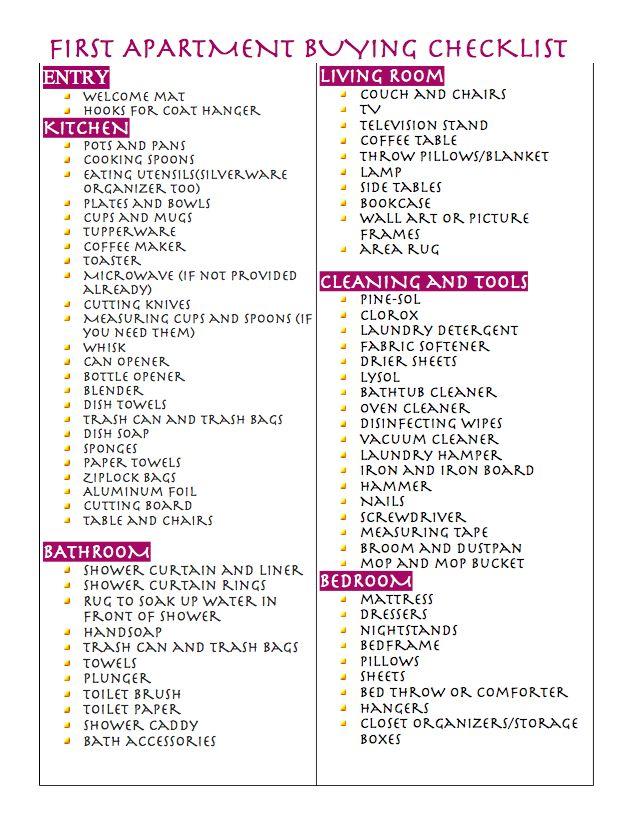 Best 25+ College apartment checklist ideas on Pinterest | College ...