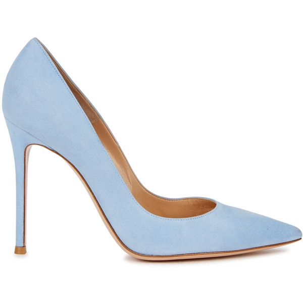 Gianvito Rossi Ric Blue Suede Pumps - Size 7 (16 580 UAH) ❤ liked on Polyvore featuring shoes, pumps, slip-on shoes, blue suede shoes, high heeled footwear, blue pumps and blue high heel pumps