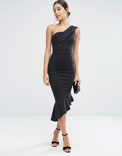 Black scuba one shoulder frill dress